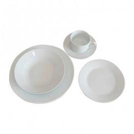 Juego de vajilla 30 piezas porcelana blanca Berma Hotel